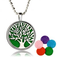 Wholesale Vintage Perfumes - Wholesale-Vintage Hollow Tree of Life Essential Oil Diffuser Perfume Aromatherapy Locket Necklace For Women Gifts
