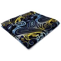 ingrosso cravatta nera gialla-PH15 Paisley Blue Black Yellow Pocket Square Mens Neckties Tessuto jacquard