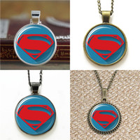 Wholesale Earring Superman - 10pcs Superman Logo Justice League Comic Superhero Pendant Necklace keyring bookmark cufflink earring bracelet
