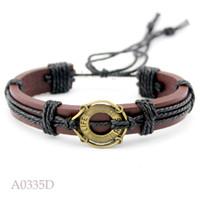 Wholesale Nautical Friendship Bracelet - ANTIQUE BRASS Life Buoy Charm Adjustable Leather Cuff Bracelets Gifts Nautical Ocean Casual Friendship Wristband Jewelry