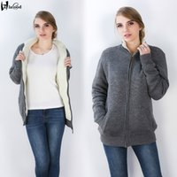 Wholesale Extra Long Coats Women - Hot sell best quality women 's extra large yards increase thickening cashmere inside zipper cardigan pullover sweater Ms plus size fat coat