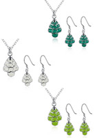Wholesale Olive Tree Necklace - [New store half price] Christmas theme - white & cyan-blue & olive green Christmas tree necklace earrings piece sets