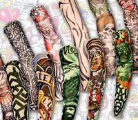 ingrosso calze del braccio dei manicotti del tatuaggio-Wholesale- 12pcs mescolano l'elastico libero di trasporto Falso manicotto del tatuaggio temporaneo arte 3D progetta il corpo gamba del braccio calze tatoo freddo uomo-donna 2015 nuovo