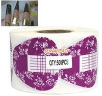 Wholesale patterned acrylic nail tips - Wholesale- BEMLP 500 Pcs Purple PATTERN NAIL ART SALON EXTENSION FORM False ACRYLIC UV GEL TIPS,HB-ExtensionForm