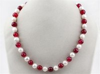 collar de perlas de rubí al por mayor-ENVÍO GRATIS! 7-8mm perla de agua dulce blanca y rojo 8 mm rubí ronda cuentas collar 18