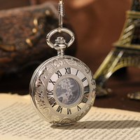 Wholesale-Elegant Pocket Watch Royal Boutique Atmosphere Alquimista Fob Relógios Silver Color Steampunk Com Cadeia 2 Lados Open Case PW113