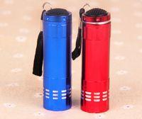 luzes médicas led venda por atacado-2017 Flashlighs Mini UV De Alumínio Ultra Violeta 9 LED Lanterna Mini Luz Da Tocha Luz Dinheiro Detector de Luz Cuidados Médicos 3xAAA bateria