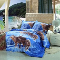 Wholesale Patterned Bedding - Wholesale-Fashion Wolves Printed 3D Suit Bedding Set Polyester Animal Pattern Sheet Pillowcase Duvet Cover Bedclothes Bed Supplies 2 Size