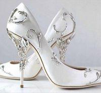 Wholesale navy blue satin pumps - 2017 Fashion Shallow Pointed Toe pumps Party Prom Wedding Shoes Woman Metal Decoration 10cm Heel Women Pumps Fashion Satin Heels