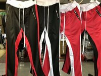 Wholesale Plaid Flannel Pants - 2017 mens jumpsuit urban clothing Fear of God FOG track pants side zipper sweatpants jogger men sporting pants red black white M-XL