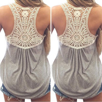 Wholesale Crochet Womens Vest - 2016 Summer New Fashion Womens Striped Tank top Sexy Lace tops Crochet Back Hollow-out Woman Vest Camisole Casual Tank Tops