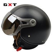 Wholesale leather motorcycle helmet xl - GXT New autumn & winter genuine leather vintage retro Harley motorcycle helmet capacete cascos air force open face moto helmet