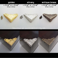 Wholesale Furniture Chests - Wholesale- 12pc Metal Decorative Jewelry Chest Wine Box Wooden Table Desk Picture Photo Frame furniture Edge Corner Protector Guard +Screws