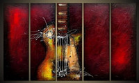 Wholesale Large Framed Oil Painting Canvas - Guitar Passion Large Modern 5 Panels 100% Hand Painted Framed Abstract Music Oil Paintings on Canvas Wall Art Ready to Hang