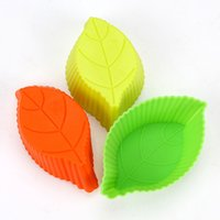 Wholesale Silicon Baking Moulds - Silicon Cupcake Baking Pan Mold Silicone Leaf Cake Mold Leaf Muffin Moulds Mix Color