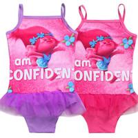 Wholesale Swimsuits For Baby Cartoons - New Fashion One Piece Girls Trolls Children Cartoon Swimsuit For Baby Kids Swim Bathing Suit Beachwear 3-10Y