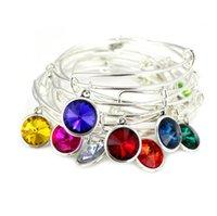 Wholesale Silver Pendant Bracelets - Twelve Colored Life Stone Silver Tone Color Crystal Charm Pendant Expandable Wire Bangle Charm Bracelet For Women Girls Birthday Gift
