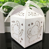 10pcs Elephant Laser Cut Oco Carriage Favors Box Presentes Candy Boxes Com Fita Baby Shower Wedding Event Party Supplies