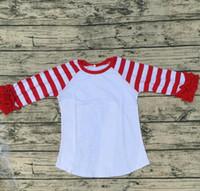 Wholesale Kids Raglan Wholesale - Icing Ruffle Raglan Shirt 2017 Kids Boutique Clothing Red Stripe Sleeve Infant Icing Ruffle Raglan Shirt