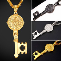 Wholesale Saint Stainless - U7 New Saint Benedict Medal Key Pendant Necklace Charms Cross Jewelry Stainless Steel Gold Black Gun Plated Chains for Men Women Gift GP2396