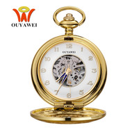 Wholesale Mechanical Pocket Watch Gold - NEW Arrival OUYAWEI Luxury Mechanical Pocket Watches Male Pocket Fob Watch Men Pendant Watch Steampunk Skeleton Men Police Watch