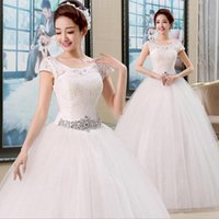 Wholesale Thin Wedding Gown - 2016 new wedding dress Europe and the United States in one fell swoop fat MM Slim was thin waist retro spring