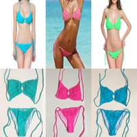 Wholesale Bikinis Small - women's swimsuit bikini swimwear sexy bra Floral pure color small chest gathered with removable chest pad 2018