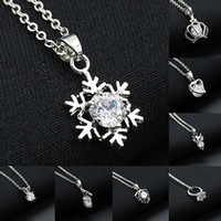Wholesale Heart Shield - SWA Diamond Pendants Necklaces With Silver Crown Snowflake Heart Shield Butterfly Owl Ring Charm Daily Women Necklace 8 Styles