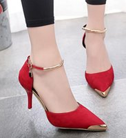 Wholesale Thermal Points - New thermal suede shoes casual shoes women sexy toe pump stiletto heel ms okok wedding shoes