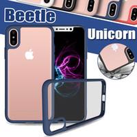 Wholesale Slim Cameras - Unicorn Beetle Camera Lens Protection Bumper Slim Transparent Hybrid Cover Case For iPhone X 8 7 Plus 6 6S 5 5S SE Samsung S8 Plus Note 8