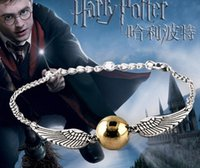 Wholesale Harry Potter Hallows Bracelet - Wholesale- 2017 Hot Selling bracelets Bangles The Movie The deathly Gold-plated for hallows Harry B Potter Bracelet Drop men free Shipping
