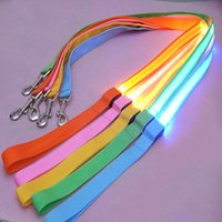 Wholesale Dog Walking Light - Dog Collar Lead Nylon Leashes LED Lights Glow And Flash At Night Multi Colors Available Perfect For Walking 2.5CM*120CM