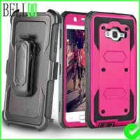Wholesale Dual Layer Holster Case Galaxy - Bello Full Body Rugged Heavy Duty Armor Shock Proof Dual Layer Locking Belt Swivel Clip with Kickstand Holster Case for Galaxy J7 (2015)