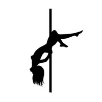 Wholesale Dance Stickers - 11.2*17.6CM Sexy Pole Dancing Girl car Stickers Personality Reflective Vinyl Car Decals Styling Black Silver C7-0250