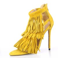 Wholesale Thin Dressed Sexy Girls - summer sexy Tassel women sandals thin high heels Lady Casual zip dress party shoes for women and girl grey yellow pumps