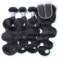 Wholesale Wave Hair Sold Bundles - Wholesale Hot Sell Brazilian Hair Weft Body Wave With Closure Human Virgin Hair Bundles Weave Wavy Hair Extensions With 4*4 Closure