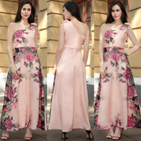 Wholesale Wholesale One Shoulder Chiffon Dress - Slim Pink One-shoulder Floral Printed A Line Dresses Elegant Chiffon Sleeveless Comfortable Party Evening Dress