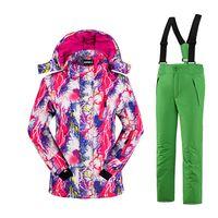 Wholesale Children Ski Suit - Wholesale- New 2016 Children Kids Girls Jacket+Pants Ski Suits Waterproof Snowboarding Skiing Jackets Sports Windproof Breathable HWP006-5