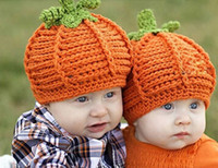 Wholesale Girls Handmade Crochet - Baby pumpkin Crochet Hats Cap Girls Pumpkin Cap Handmade knit Crochet winter Hats Halloween Infant Baby Costume Photo Props BH114