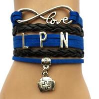bracelets personnalisés achat en gros de-10pcs diy bijoux nouveau Drop Shipping Infinity Love LPN Bracelet Infirmière Charme Job Carrière Bleu avec Noir En Cuir Personnalisé Enveloppé Bracelet Bracelet