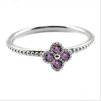 Wholesale Oriental Jewelry - 2016 Summer Style Oriental Blossom Silver Rings With Pink CZ 100% 925 Sterling Silver DIY Jewelry Wholesale