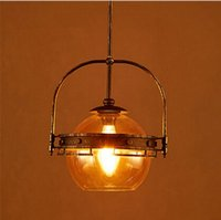 Wholesale Vintage Glass Hanging Lamps - Loft Style Vintage Amber Edison Glass Pendant Lights,Retro Iron Art Pendant Lamps for Cafe bar Hanging Lamps Industrial Lighting LLFA