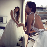 Wholesale Trendy Beach Wedding Dresses - Romantic Boho Beach Wedding Dresses Sexy Backless Halter Hippie Style Bridal Gowns 2017 Chic Lace Plus Tulle Trendy Party Dress