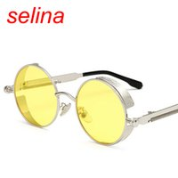 Wholesale Gothic Metal Fashion - Gothic Steampunk Sunglasses Men Women Metal retro Wrap Eyeglasses Round clear glasses Shades Brand Design Sun glasses tinted top Quality