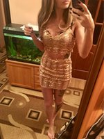 Wholesale Golden Tight Dresses - SUMMER Europe and the new golden sequins sexy belt skirt two-piece wavy lines bead piece scales dress PARTY EVENING TIGHT DRESS SEXY b002