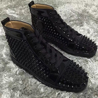 Wholesale Lace Strap Shoes - Original Red Bottom Luxury Designers Spikes Sneakers Shoes Men High Top Louisflats Outdoor Casual Shoes -- Brand Comfortable Casual Shoes