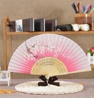 Wholesale Fans Asian - Free Shipping 50pc lot Silk Dance Hand Fan and Wedding Party Decor gifts butterfly Flower Asian Pocket Fan