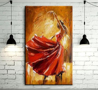 Wholesale contemporary art prints - Spain Dancer Dancing,Hand Painted contemporary Spanish Flamenco Dancer Wall Decor Art Oil Painting On Canvas.Multi sizes  Frame Options Ab12