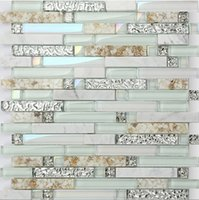 Wholesale Decor Wall Tiles Wholesaler - Light green glass mix stone&shell mosaic tiles,Hot sale rainbow color waterproof Kitchen  Bathroom wall decor shell mosaic tiles,LSBK55
