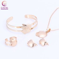Wholesale gold earrings for babies - Baby Fasnhion Jewelry Golden Apple pendant Earrings Ring Pendant Necklace Bangle Jewelry Sets For Children Girls Boy